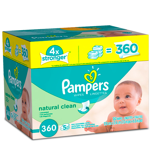 Pampers Baby Natural Clean, Toallas Húmedas para Bebé
