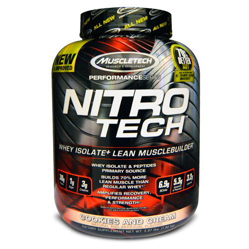 Muscle tech, Nitro Tech, Whey Isolate + Lean Musclebuilder, Cookies and Cream
